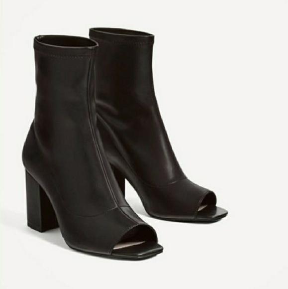 67ee973e3f3b Zara Black Open Toe Ankle Bootie